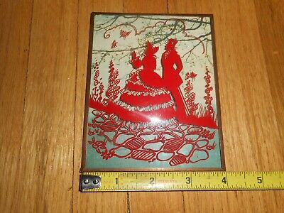 Vintage RED Convex Reverse Painted Silhouette Romantic Couple Garden
