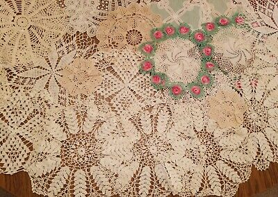 Lot of 25 Vintage Crochet Doilies  Assorted Sizes Off White Beige Green