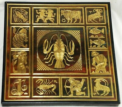 Rudy Lechleiter Brass in Wood Inlay of Zodiac Images