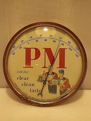 """Vintage 9"""" Round Pm Whiskey Advertising Thermometer Copper Color Finish & Glass"""