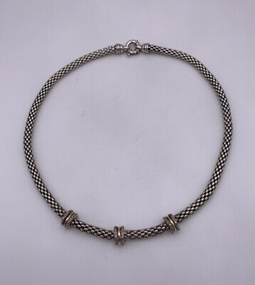 Heavy Woven 925 Sterling Silver With 14k Yellow Gold Discs Accent Necklace
