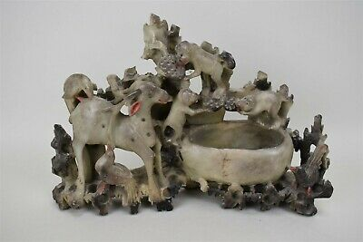 Vintage 1910 Chinese Soap Stone Hand Carved Sculpture Monkey Birds Deer