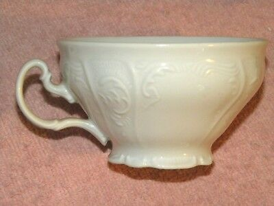 Bernadotte Czech Republic Porcelain Ivory Embossed Demitasse Cup & Saucer UNUSED