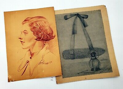 ThriftCHI ~ (2) Signed Vintage Pencil Drawings 1 Portrait 1 Still Life