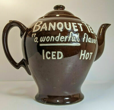 Vintage Oversized Store Display Banquet Tea Brown Teapot McCormick Advertising
