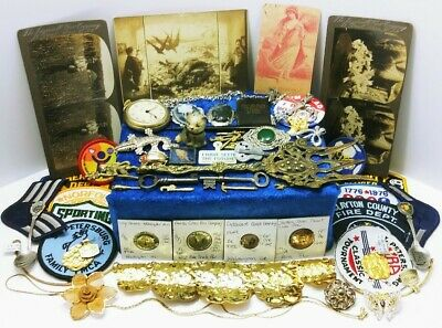 Vtg Junk Drawer Lot Relic Cast Iron Cat Brooches Ornate Fork Skeleton Keys 18kgp