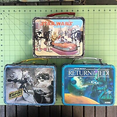 Vintage Star Wars Empires Strikes Back Return of the Jedi metal lunch boxes set