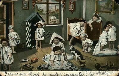 Multiple Babies 1904 House Over run with Many Children Antique Postcard 1c stamp