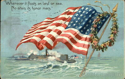 Memorial Day 1907 American Flag over Water,Wreath Tuck Antique Postcard 1c stamp