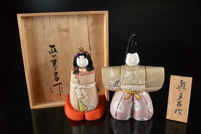 Z1846: Japanese Pottery hina-ningyo DOLL STATUE sculpture Ornament, w/signed box