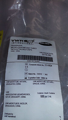 VWR Micro-Centrifuge Tubes w/attached caps 20170-293 .65mL opened bag/1000
