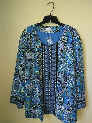 NWT Joan Rivers Women's Blue Print Stretch Polyester Lined Jacket Plus Size 3X