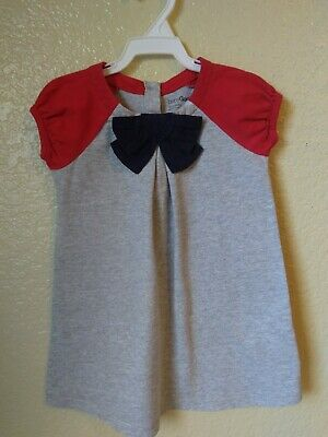 Baby Gap Girls Grey Red Navy Bow Knit Dress Size 18-24 Months