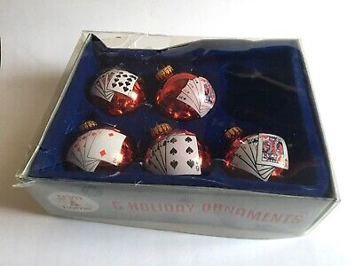Glass  Playing Card Christmas Ball Ornament Red Box Of 5
