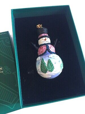 Reed & Barton Woodland Snowman Glass Ornament Christmas Reflections In Box C2280