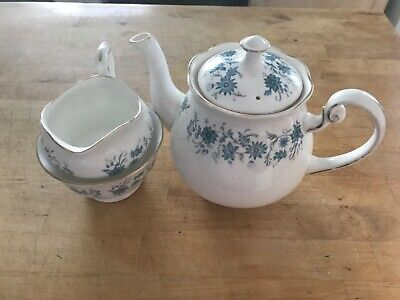 Colclough bone china tea pot with milk jug and sugar bowl