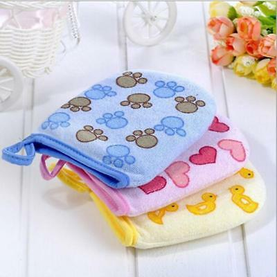 Baby Kids Cartoon Cotton Bath Gloves Mitt Child Infant Soft Wash Cloth Towel SI