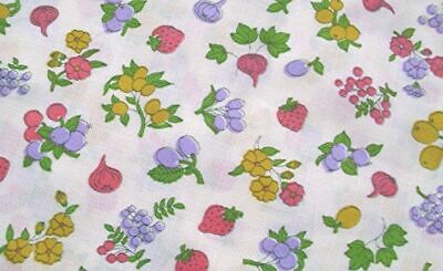 "2+ YDS VTG COTTON PRINT FABRIC PINK GOLD LAVENDER FRUITS 45"" x 83 1/2"""