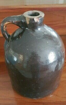 "STONEWARE Little Brown Jug Moonshine Whiskey Jug Crock 8"" Tall"