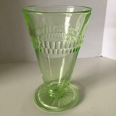 Anchor Hocking Green Roulette Depression Glass Footed Tumbler 10 oz. 5-1/2 in.