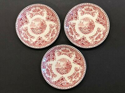 (3) Vintage John Maddock & Sons Vitreous Bombay Red White China Saucers Plates