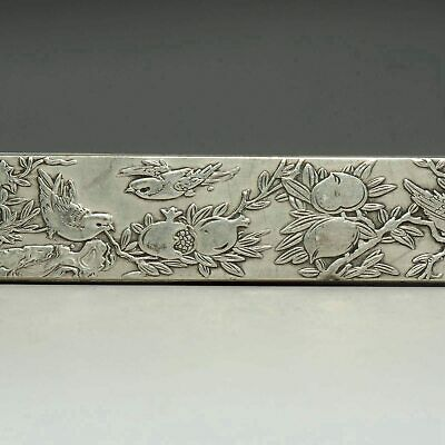 Collect China Antique Tibet Silver Hand-Carved Flower & Bird Statue Paperweight
