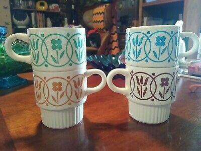 Vintage Retro Coffee Cups Mugs stacking made in USA set of 4 multicolor