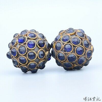 Collectable China Old Bronze Armour Agate Hand Carve Delicate A Pair Ball Statue