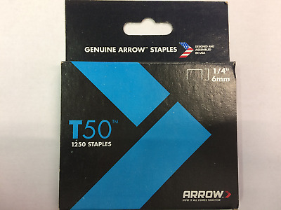 "Arrow Staples 1/4"" To Fit T50 Stapler. Brand New 1250 Staples In Unopened Box."