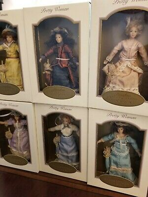 Pretty Woman Porcelain Doll Collectible Ornament ©️ 2003 - Lot Of 6 - NEW IN BOX