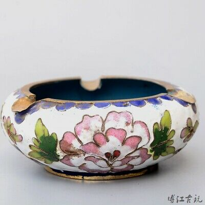 Collectable China Old Cloisonne Hand-Carved Bloomy Flower Delicate Noble Ashtray