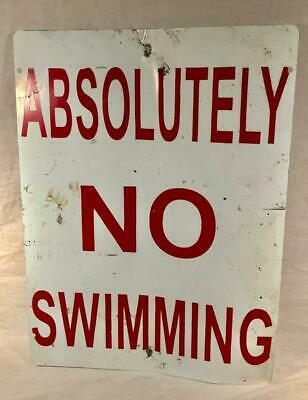 "Vintage Metal 18""X 24"" ""Absolutely No Swimming"" Sign"