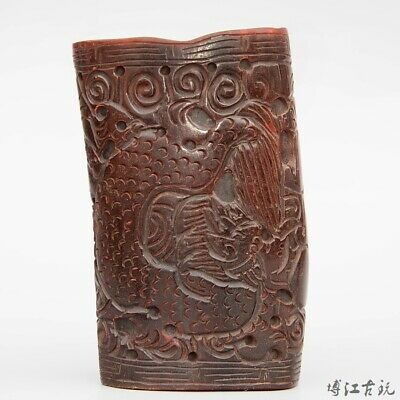 Collectable China Old 0x H0rn Hand-Carved Myth Dragon Moral Auspicious Brush Pot