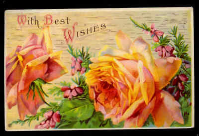 ROSES 1919 With Best Wishes Post Card Used