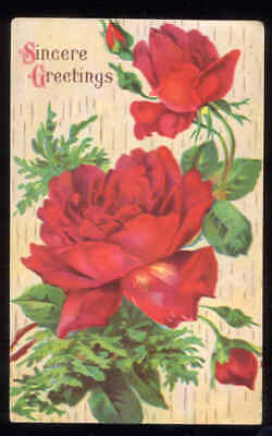 ROSES 1919 Sincere Greetings Post Card Used