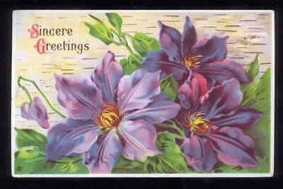 FLOWERS 1919 Sincere Greetings Post Card Used