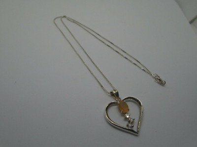 925 sterling silver heart moonstone & cz pendant & chain necklace not scrap