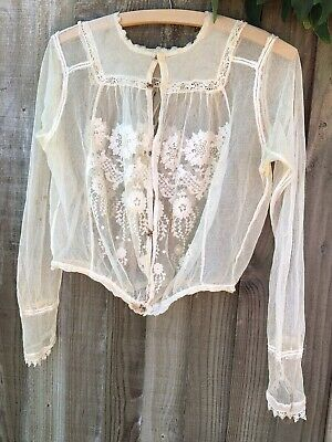 Antique Victorian Edwardian Vintage Embroidered Tulle Chantilly Lace Blouse Top