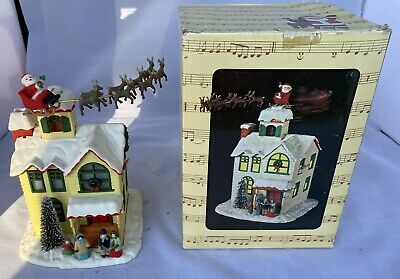 Enesco Up On The House Music Box and Illuminated House