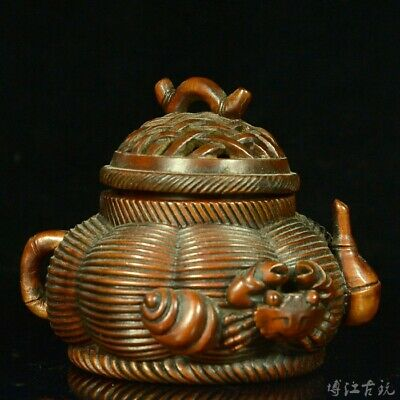 Collectable China Old Boxwood Hand-Carved Crad & Sea Snail Delicate Noble Censer
