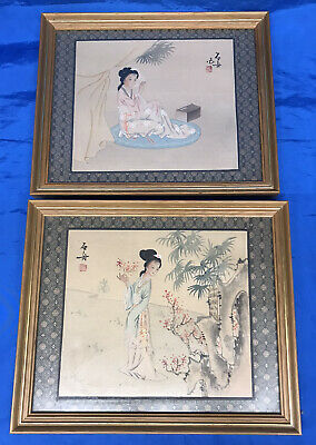 2 x Vintage Japanese / Asian Watercolours - Signed and Framed