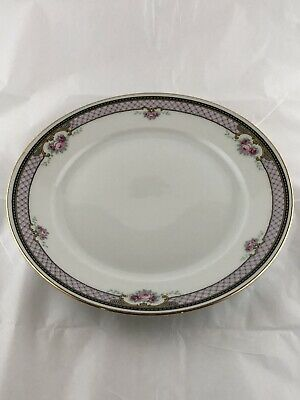 "Thomas Bavaria China Salad/Desert Plate Purple Lilac Pink Rose Black Gold 7.5"" *"