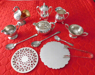 Mixed Lot Vintage Silverplate: Creamers, Sugars, Trivets, Spoons,Tongs