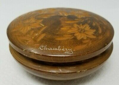 Vintage Hand Carved Wood Chambery France Trinket Jewelry Box Floral Pattern