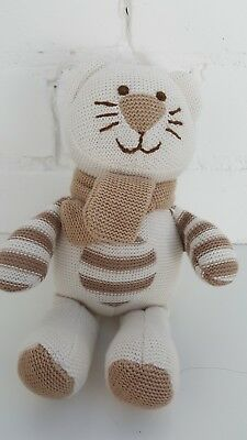 Card Factory Tiny Treasures Beige/Cream Knitted Cat Kitten Soft Toy Comforter