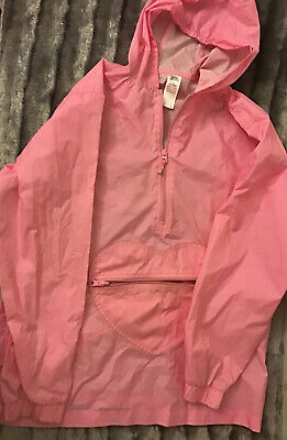 ☔️Girls'  Large Pink  Raincoat/ Cagoul. Heart Pouch, Height 158 cm Age 13 Yr ☂️