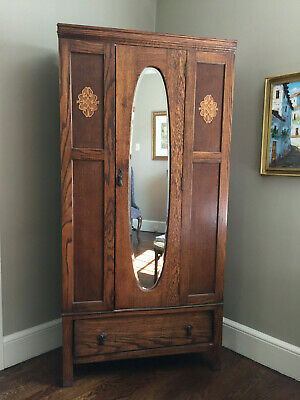 Vintage Oval Mirror Wardrobe Tall Cabinet w/ Brass Hanging Hooks Clothes Closet