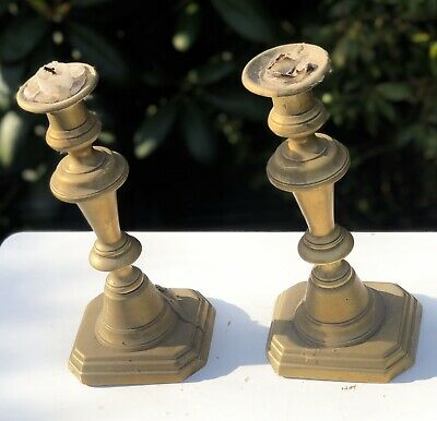 Antique Victorian Square Based Candle Sticks Candle Stands Candle Holders