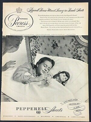 1947 Pepperell Sheets Little Girl Sleeping Doll Vintage Photo Print Ad