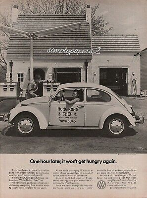 1971 VW Volkswagen Beetle Bug Hong Kong Chef Gas Station Vintage Photo Print Ad